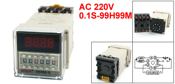 DH48S-S AC220V 0.1S-99H99M LED Display Digital Time Delay Relay