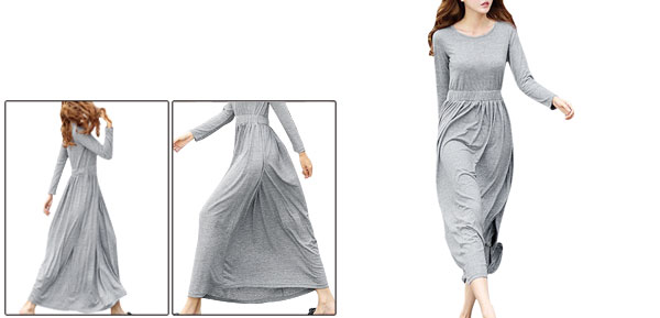 Women Round Neck Long Sleeve Elastic Waist NEW Dress Light Gray XS