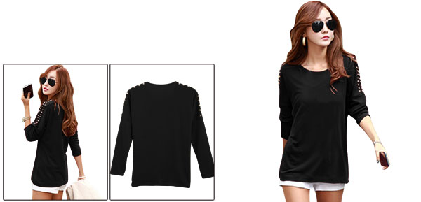 Lady Round Neck Stretchy Pullover Studs Decor Black Top Shirt XS