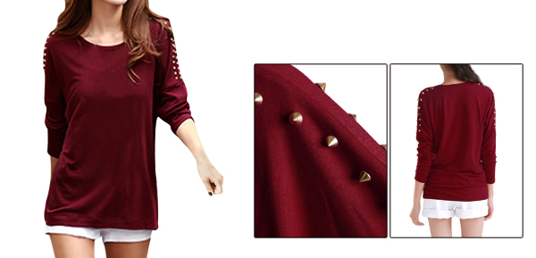 Lady Round Neck Elastic Autumn Loose Burgundy Top Shirt XS