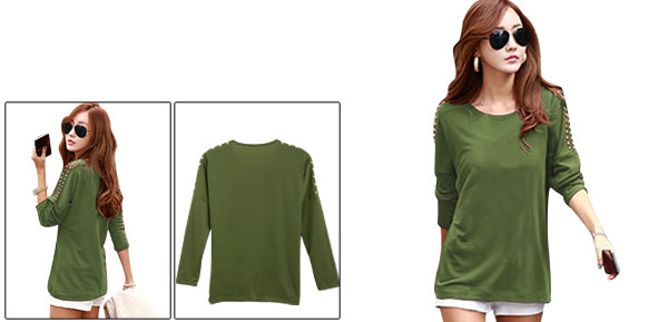 Lady Long-sleeved Elastic Autumn Army Green Top Shirt XS