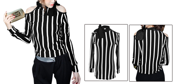 Women Black White Cut Out Bow Tie Neck Stripes Stretchy Top Shirt XS