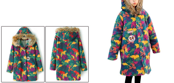 Women Single Breasted Camouflage Multicolor Hooded Quilted Coat M