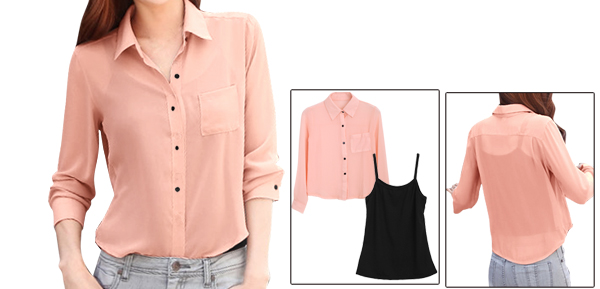 Lady Button Down Loose Top Shirt & Spaghetti Strap Pink Black Tank Top XS