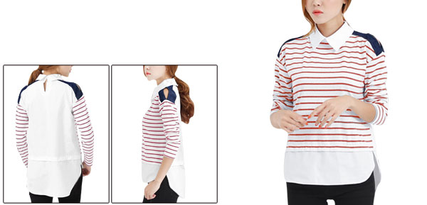 Woman Point Collar Long Sleeve Knitted Front Splice Red White Top Shirt XS