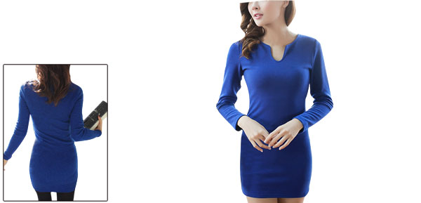 Women Split Neck Pullover Stretchy Autumn Wearing Dress Royal Blue S