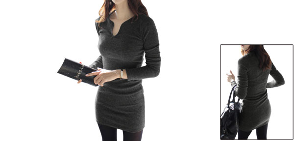 Women Pullover Long Sleeve Form Fitting Autumn Dress Dark Gray S