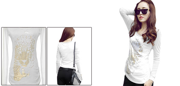 Lady Semi-Sheer Long Sleeved Round Neck Leopard Prints White Shirt XS