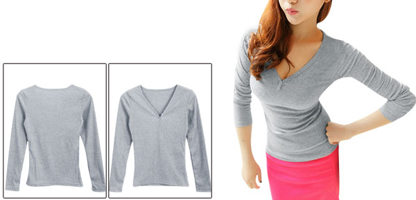 Women Stylish Pure Pattern V-Neck Light Gray Knit Shirt XS