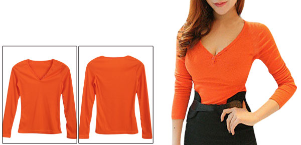 Ladies Button Decor Neck Solid Color Slim Orange Knit Shirt XS