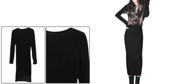 Women Round Neck Long Sleeved Black Knit Sheath Dress XS