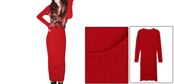 Women Solid Color Pure Pattern Pullover Red Knit Sheath Dress XS