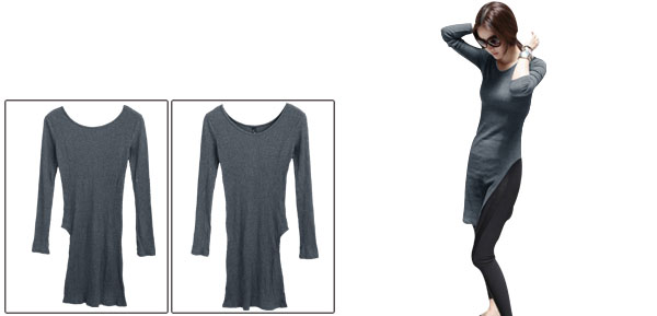 Lady Scoop Neck Pullover Design Autumn Dark Gray Knit Top XS