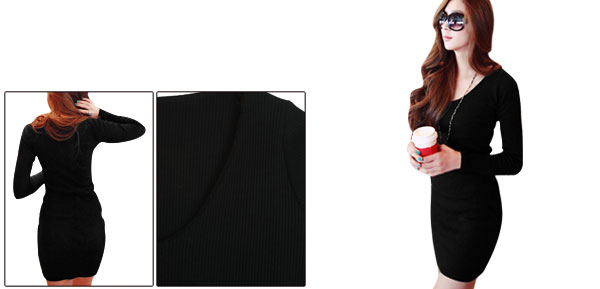 Lady Close-fitting V Neck Elastic Pullover Design Black Dress XS