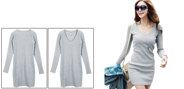 Lady Form-fitting Long-sleeved Pullover Light Gray Dress XS