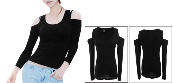 Lady Black U Neck Cut-out Stretchy Pullover Tee Shirt XS