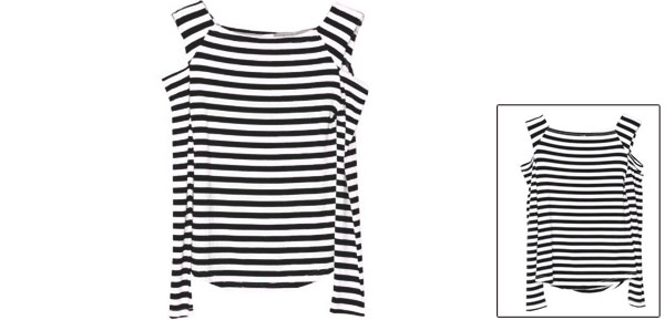 Lady Round Neck Cut Out Stretchy Pullover Black White Tops XS