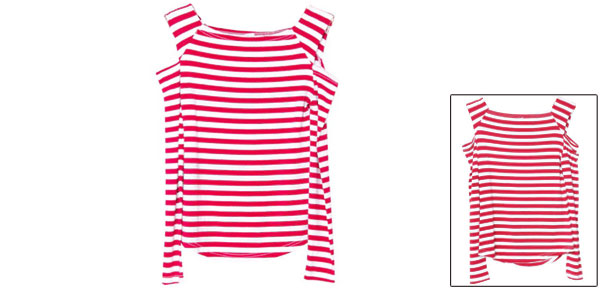Lady Long Sleeve Elastic Stripes Autumn Red White Tops XS