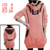 Lady Long Sleeve Dots Prints Autumn Pink Tunic Hoodie S