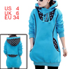 Lady Long-sleeved Dots Prints Back Casual Blue Tunic Hoodie S