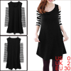 Women Black Stripes Pattern Sleeve Double Slant Pockets Dress XS