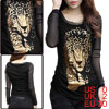 Women Mesh Splicing Leopard Prints Long Sleeved Black Casual Shirt XS