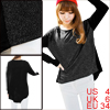 Lady Round Neck Elastic Dipped Hem Loose Black Dark Gray Top Shirt S
