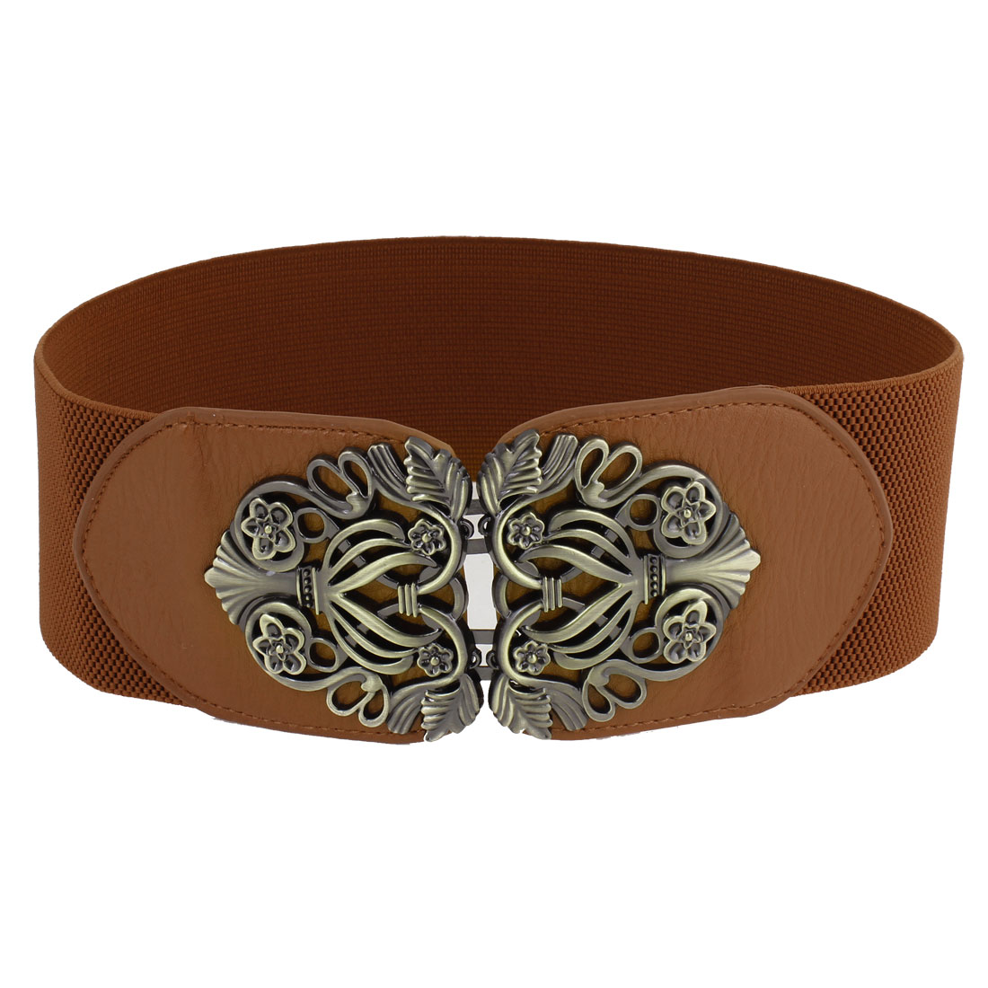 Lady-Retro-Style-Interlocking-Buckle-Faux-Leather-Cinch-Waist-Belt-Brown