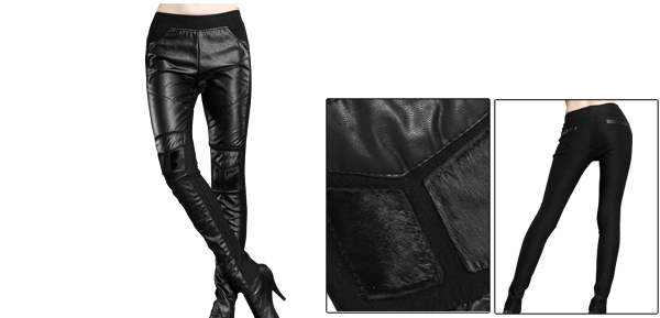 Woman Elastic Waist Imitation Leather Patchwork Splice Black Tapered Pants S