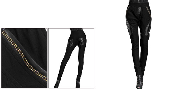Women Stretchy Waist Four Pockets Button Decor Splice Detail Pants Black S