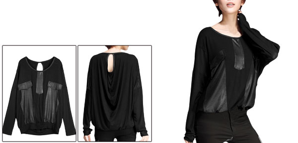 Lady Semi Sheer Batwing Sleeve Spiced Loose Autumn Black Top Shirt S