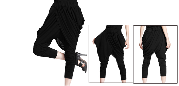 Women Elastic Waist Chiffon Panel Black Casual Harem Pants S