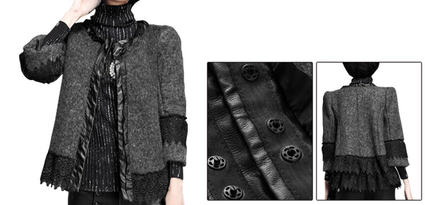 Dark Gray Lady Lace Hem Double Slant Pockets Worsted Jacket S