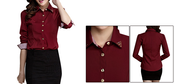 Women Studs Decor Point Collar Long Sleeved Burgundy Shirt XS