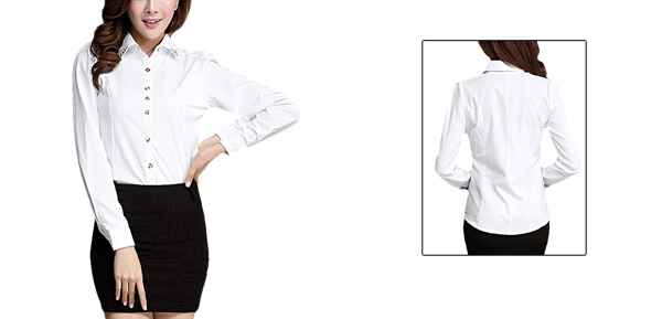 Ladies Button Closure Front Long Sleeved White Casual Shirt S