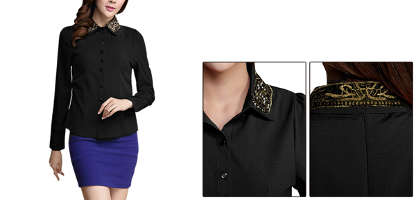 Women Single Breasted Beads Decor Point Collar Black Shirt XS