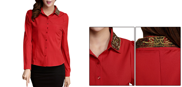 Ladies Embroidery Decor Point Collar Long Sleeved Red Shirt XS