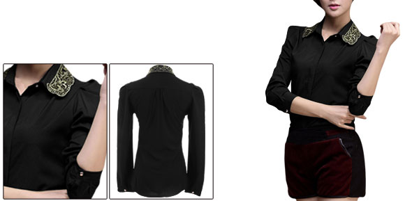 Women Black Long Sleeve Point Collar Buttoned Cuff Round Hem Shirt XS