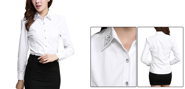 Women Rhinestone Decor Point Collar Long Sleeve White Shirt XS