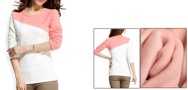 Lady Round Neck Fleece Lined Stretchy Autumn Pink White Sweatshirt XS