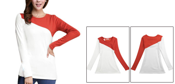 Lady Long Sleeve Fleece Lined Autumn Orange White Tops S