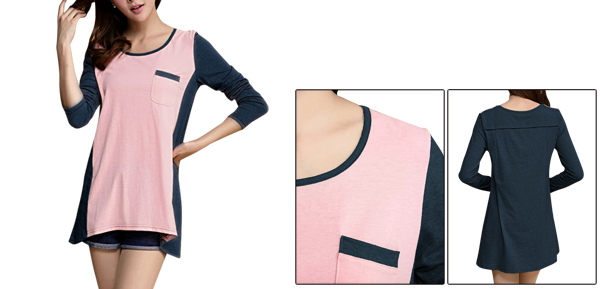 Women Round Neck Color Block Long Sleeved Navy Blue Pink Shirt S