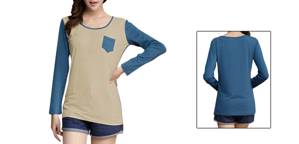Women Round Neck Long Sleeved Blue Beige Color Block Shirt S