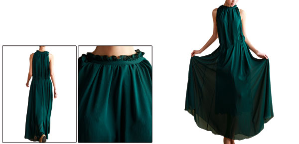 Lady New Style Ruffled Stand Collar Chiffon Dark Green Dress w String XS