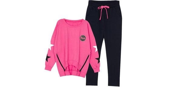 Women Batwing Sleeve Fuchsia Sweatshirt & Elastic Waist Dark Blue Pants XS
