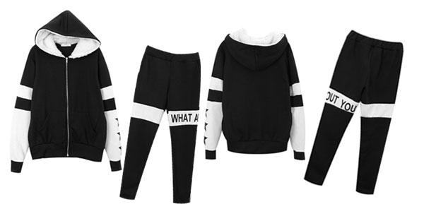 Women Kangaroo Pockets Hoodie & Stretchy Waist Black White Pants XS