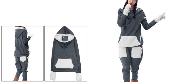 Women Long Sleeved Hoodie w Elastic Waist Casual Pants Dark Gray XS