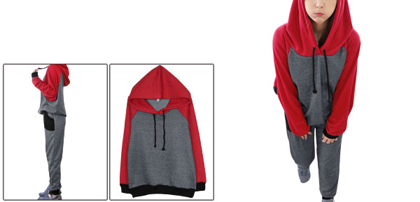 Women Color Block Hoodie w Elastic Waist Pants Dark Gray Red S