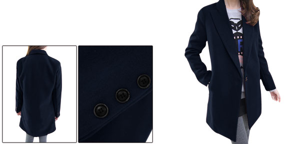 Lady Peaked Lapel Autumn Loose Navy Blue Worsted Blazer XS
