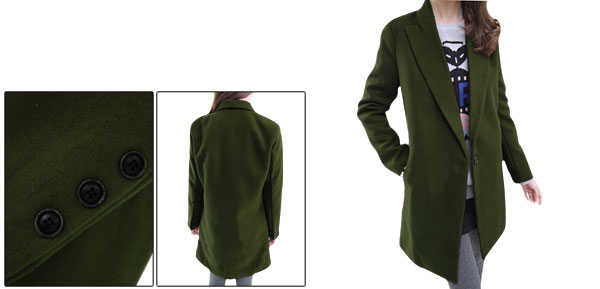 Lady Peaked Lapel Autumn Leisure Army Green Worsted Blazer XS